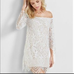 EXPRESS OFF THE SHOULDER WHITE LACE DRESS SZ XL